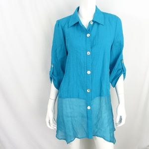 Soft Surroundings size M Teal Blue top
